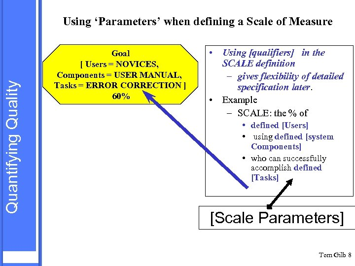 Quantifying Quality Using 'Parameters' when defining a Scale of Measure Goal [ Users =