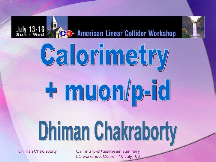 Dhiman Chakraborty Cal+mu+p-id+test-beam summary LC workshop, Cornell, 16 July, '03