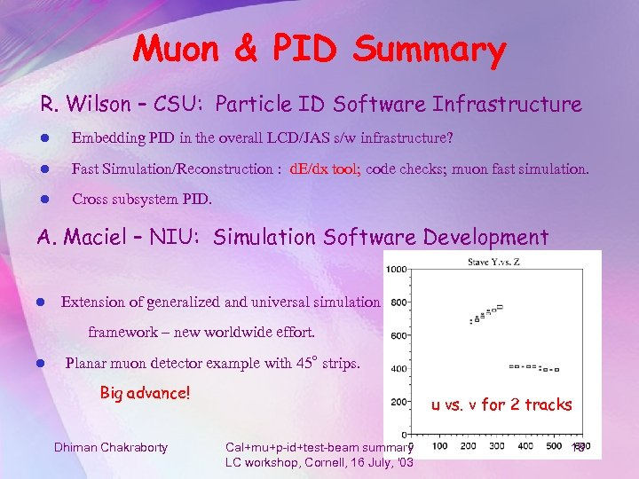 Muon & PID Summary R. Wilson – CSU: Particle ID Software Infrastructure l Embedding