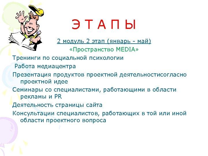 ЭТАПЫ 2 модуль 2 этап (январь - май) «Пространство MEDIA» Тренинги по социальной психологии