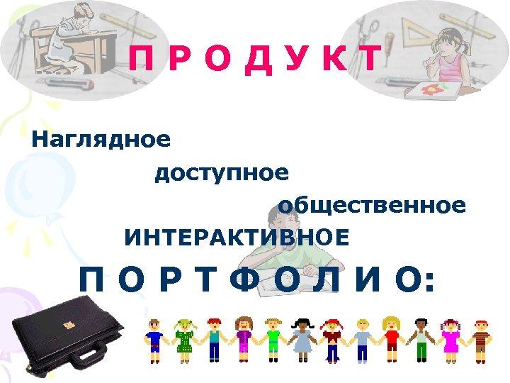 ПРОДУКТ Наглядное доступное общественное ИНТЕРАКТИВНОЕ П О Р Т Ф О Л И О: