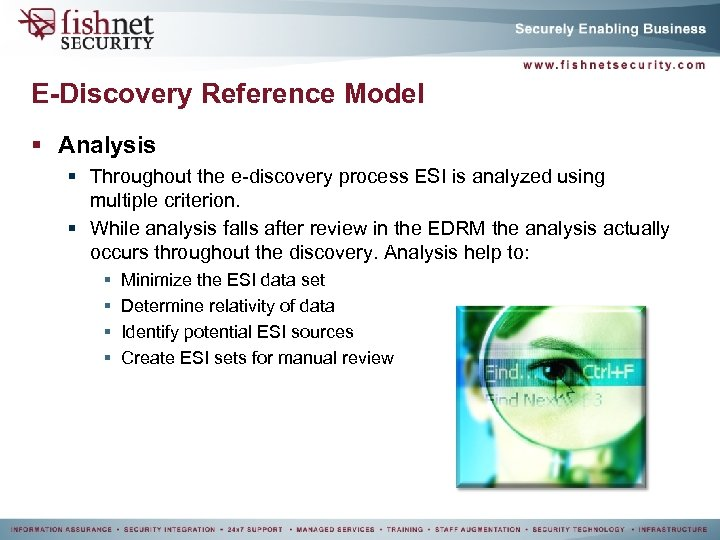 E-Discovery Reference Model § Analysis § Throughout the e-discovery process ESI is analyzed using