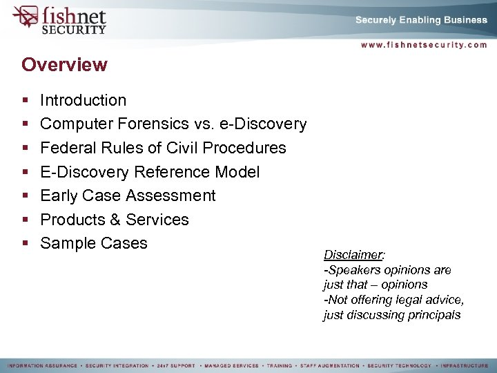 Overview § § § § Introduction Computer Forensics vs. e-Discovery Federal Rules of Civil