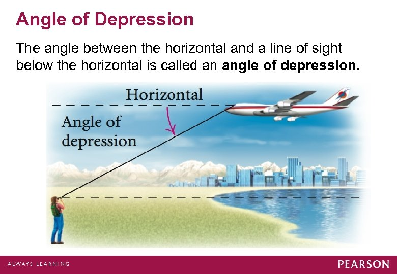 Angle of Depression The angle between the horizontal and a line of sight below