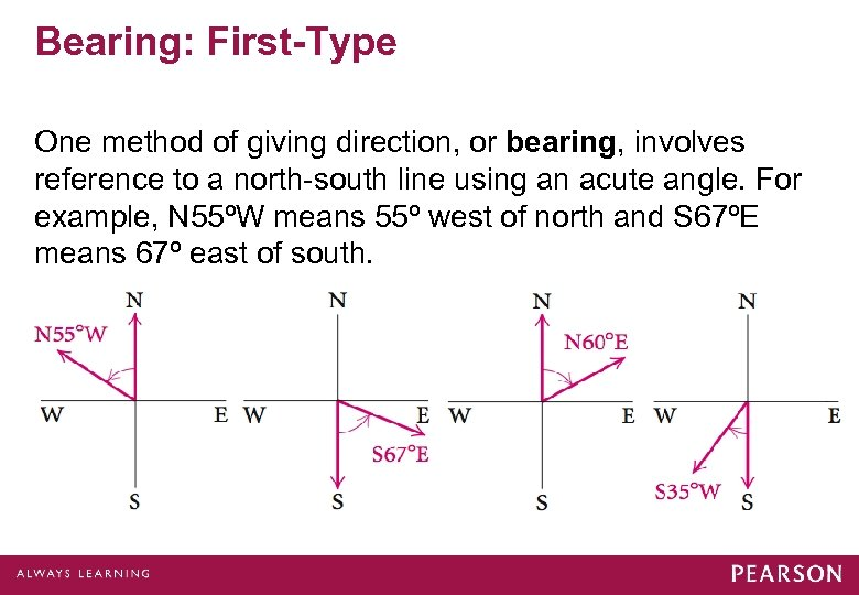 Bearing: First-Type One method of giving direction, or bearing, involves reference to a north-south