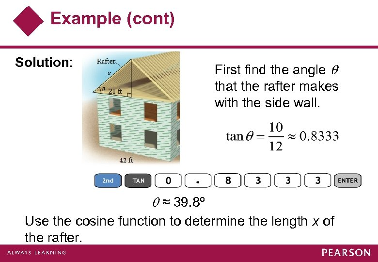Example (cont) Solution: First find the angle that the rafter makes with the side