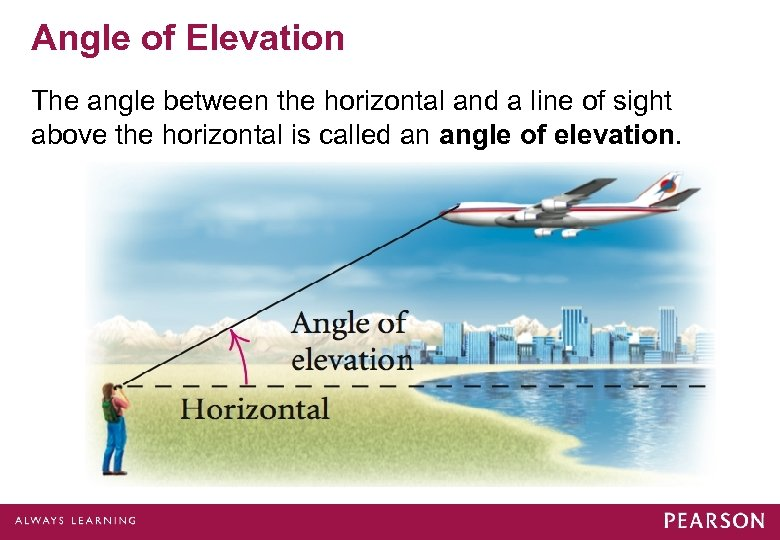 Angle of Elevation The angle between the horizontal and a line of sight above