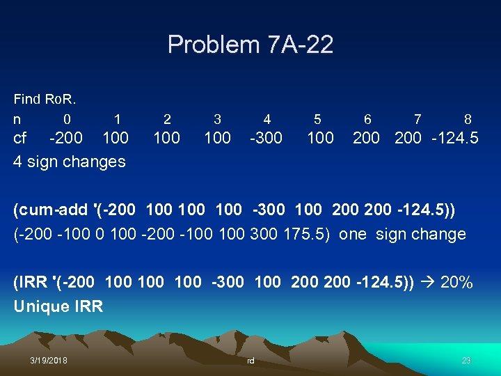 Problem 7 A-22 Find Ro. R. n 0 1 cf -200 100 4 sign