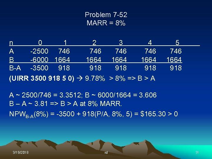 Problem 7 -52 MARR = 8% n 0 1 2 3 4 A -2500