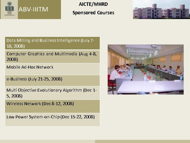 AICTE/MHRD Sponsored Courses Data Mining and Business Intelligence (July 718, 2008) Computer Graphics and