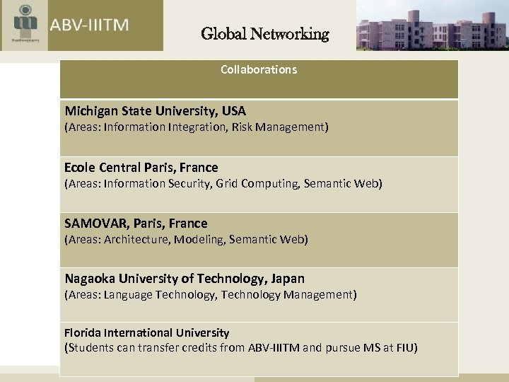 Global Networking Collaborations Michigan State University, USA (Areas: Information Integration, Risk Management) Ecole Central