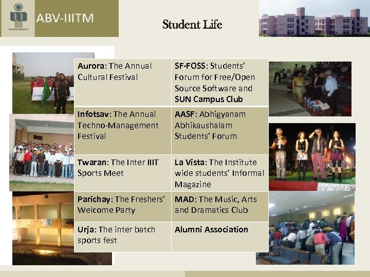 Student Life Aurora: The Annual Cultural Festival SF-FOSS: Students' Forum for Free/Open Source Software