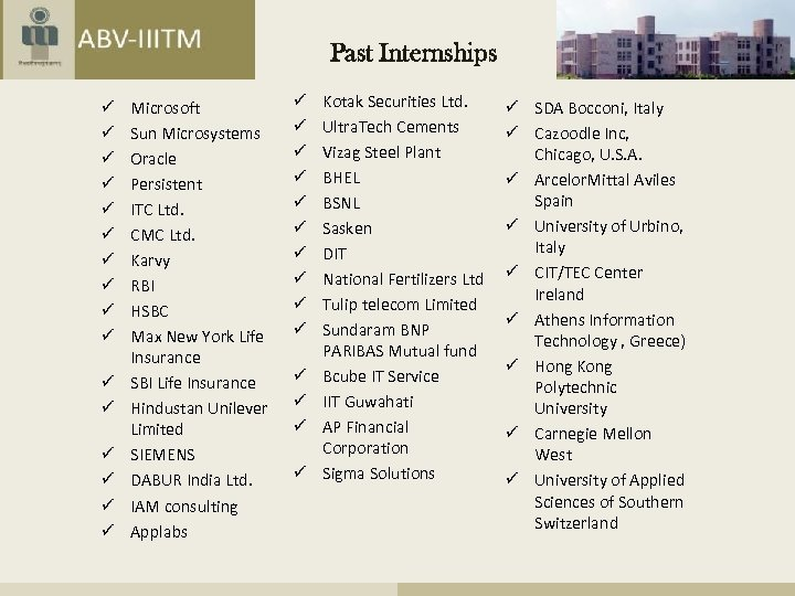 Past Internships ü ü ü ü Microsoft Sun Microsystems Oracle Persistent ITC Ltd. CMC