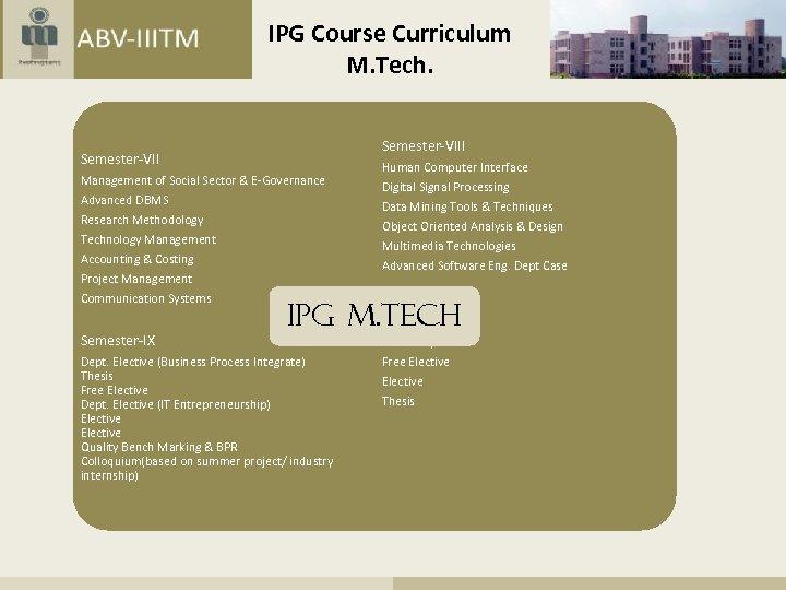 IPG Course Curriculum M. Tech. Semester-VIII Semester-VII Management of Social Sector & E-Governance Advanced