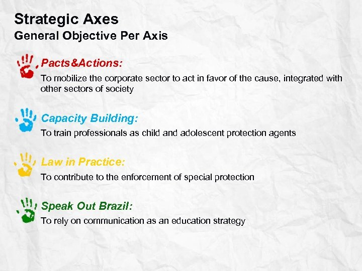 Strategic Axes General Objective Per Axis Pacts&Actions: To mobilize the corporate sector to act