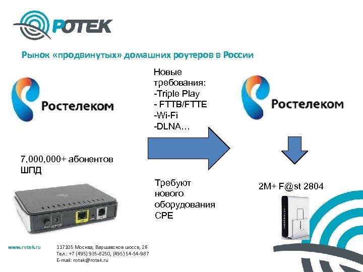 Рынок «продвинутых» домашних роутеров в России Новые требования: -Triple Play - FTTB/FTTE -Wi-Fi -DLNA…