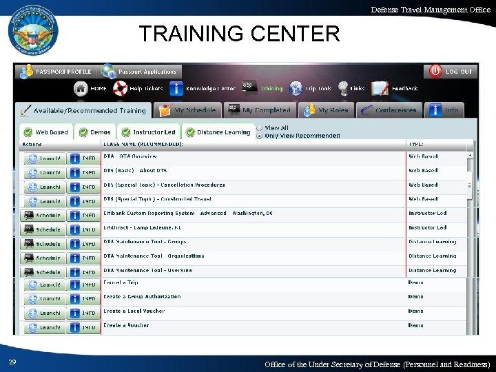 Defense Travel Management Office TRAINING CENTER 29 Office of the Under Secretary of Defense