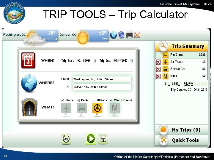 Defense Travel Management Office TRIP TOOLS – Trip Calculator 34 Office of the Under