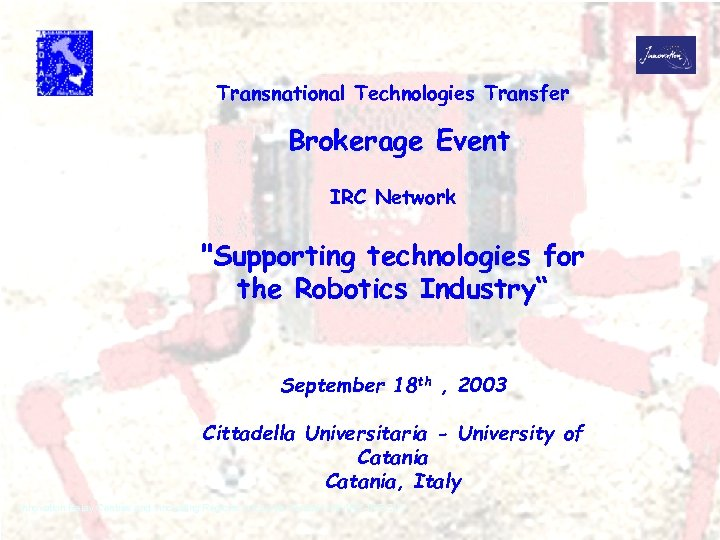 Transnational Technologies Transfer Brokerage Event IRC Network