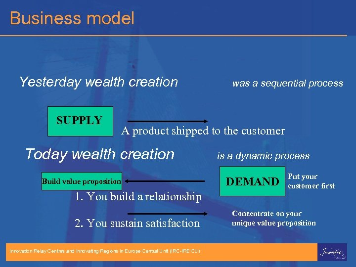 Business model Yesterday wealth creation SUPPLY was a sequential process A product shipped to