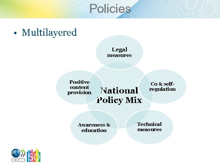 Policies • Multilayered Legal measures Positive content provision National Policy Mix Awareness & education