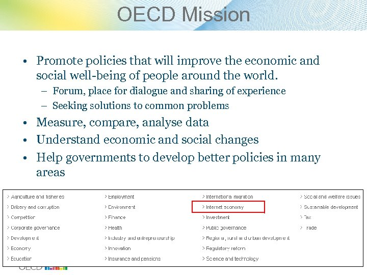 OECD Mission • Promote policies that will improve the economic and social well-being of