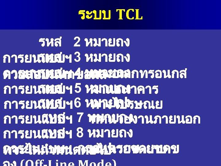 ระบบ TCL รหส 2 หมายถง รหส การยนแบบฯ 3 หมายถง รหส การยนแบบฯ 4 หมายถง ทางอเลกทรอนกส
