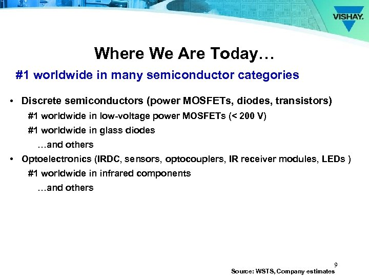 Where We Are Today… #1 worldwide in many semiconductor categories • Discrete semiconductors (power