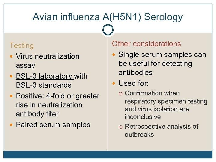 Avian influenza A(H 5 N 1) Serology Testing Virus neutralization assay BSL-3 laboratory with