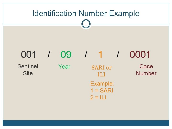 Identification Number Example 001 / 09 / 1 / 0001 Sentinel Site Year SARI