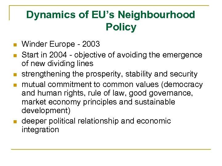 Dynamics of EU's Neighbourhood Policy n n n Winder Europe - 2003 Start in