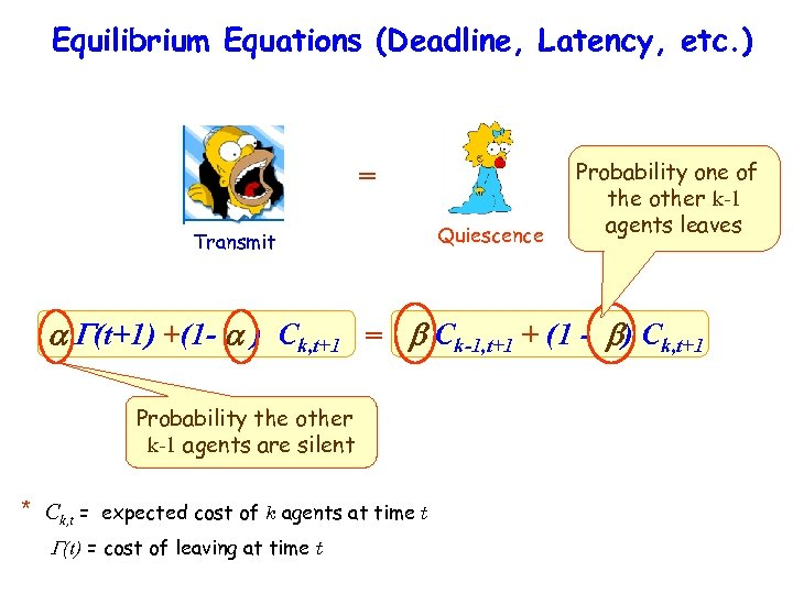 Equilibrium Equations (Deadline, Latency, etc. ) = Transmit Quiescence Probability one of the other