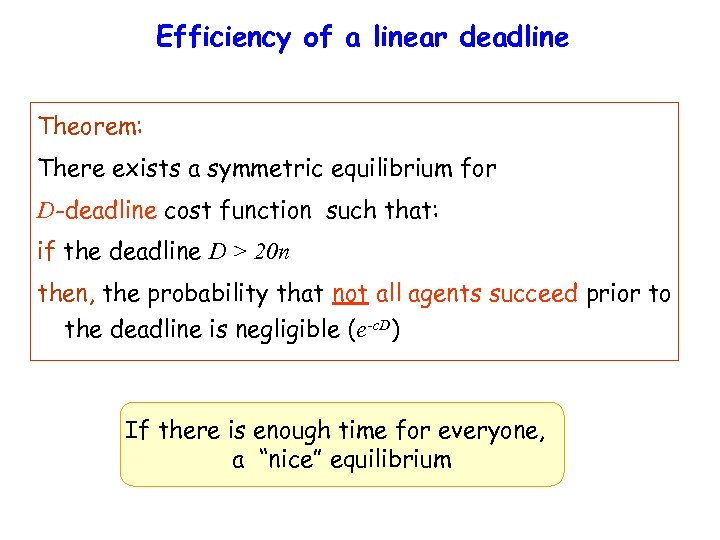 Efficiency of a linear deadline Theorem: There exists a symmetric equilibrium for D-deadline cost