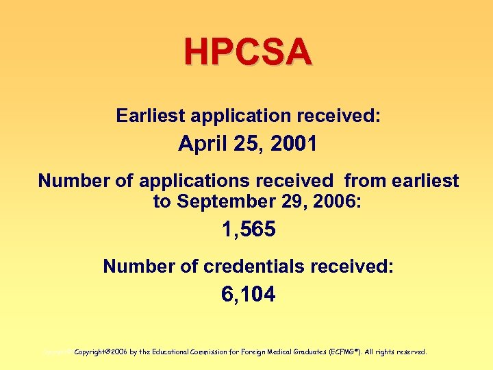 HPCSA Earliest application received: April 25, 2001 Number of applications received from earliest to