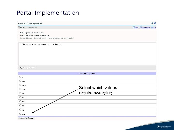 Portal Implementation Select which values require sweeping