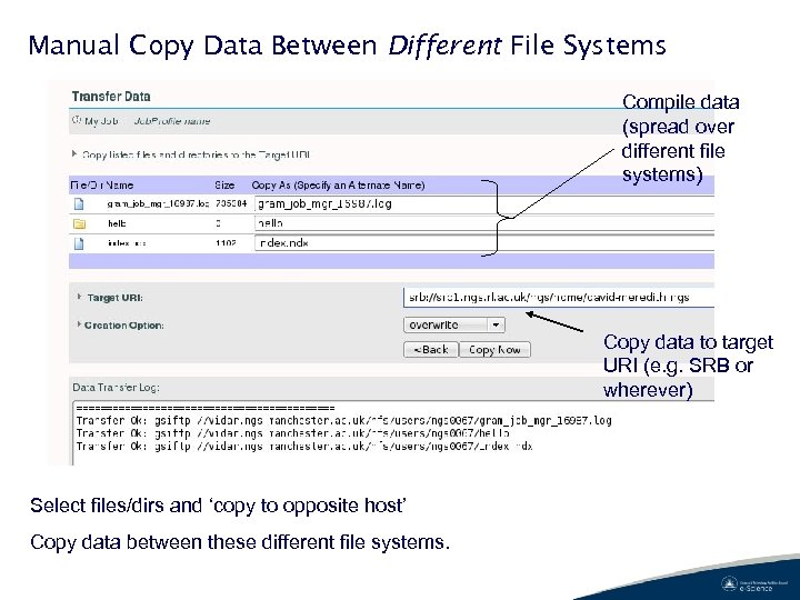 Manual Copy Data Between Different File Systems Compile data (spread over different file systems)