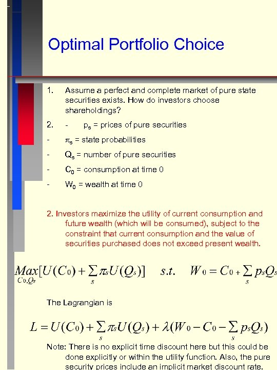Optimal Portfolio Choice 1. Assume a perfect and complete market of pure state securities
