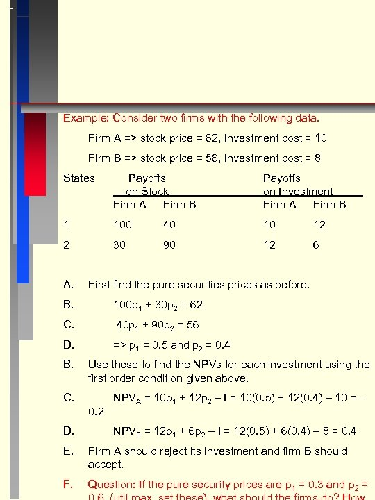Example: Consider two firms with the following data. Firm A => stock price =