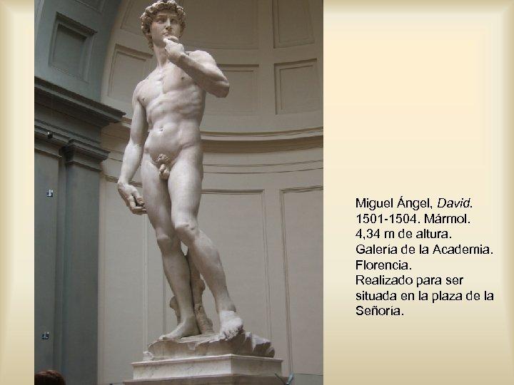Miguel Ángel, David. 1501 -1504. Mármol. 4, 34 m de altura. Galería de la