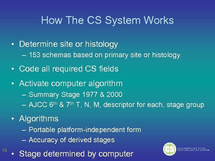 How The CS System Works • Determine site or histology – 153 schemas based