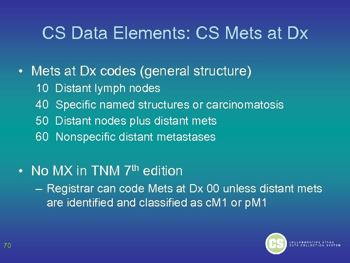 CS Data Elements: CS Mets at Dx • Mets at Dx codes (general structure)