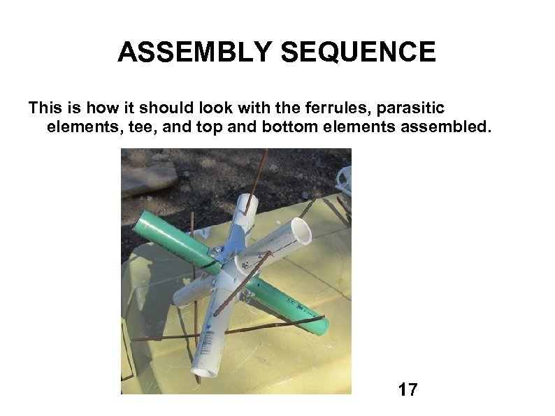 ASSEMBLY SEQUENCE This is how it should look with the ferrules, parasitic elements, tee,