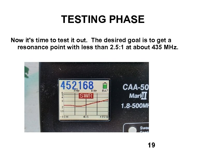 TESTING PHASE Now it's time to test it out. The desired goal is to