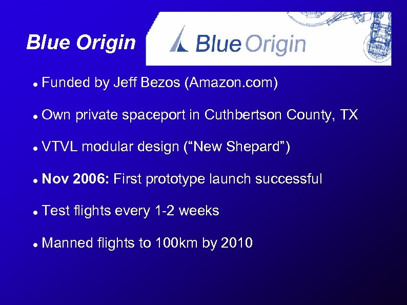 Blue Origin Funded by Jeff Bezos (Amazon. com) Own private spaceport in Cuthbertson County,
