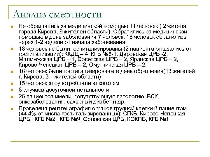 Анализ смертности n n n n Не обращались за медицинской помощью 11 человек (