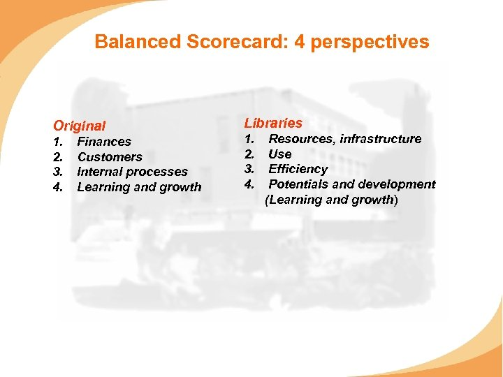Balanced Scorecard: 4 perspectives Original 1. 2. 3. 4. Finances Customers Internal processes Learning