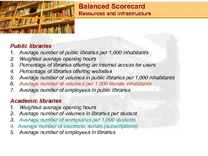 Balanced Scorecard Resources and infrastructure Public libraries 1. 2. 3. 4. 5. 6. 7.