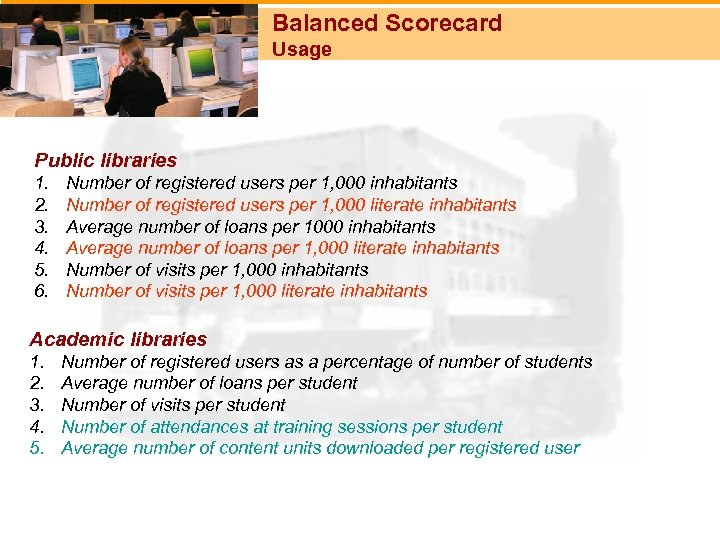 Balanced Scorecard Usage Public libraries 1. 2. 3. 4. 5. 6. Number of registered
