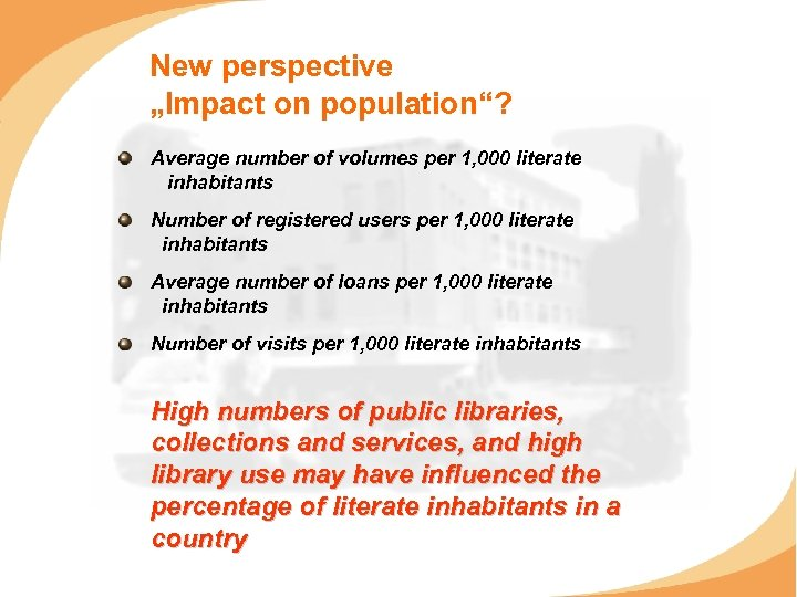 "New perspective ""Impact on population""? Average number of volumes per 1, 000 literate inhabitants"