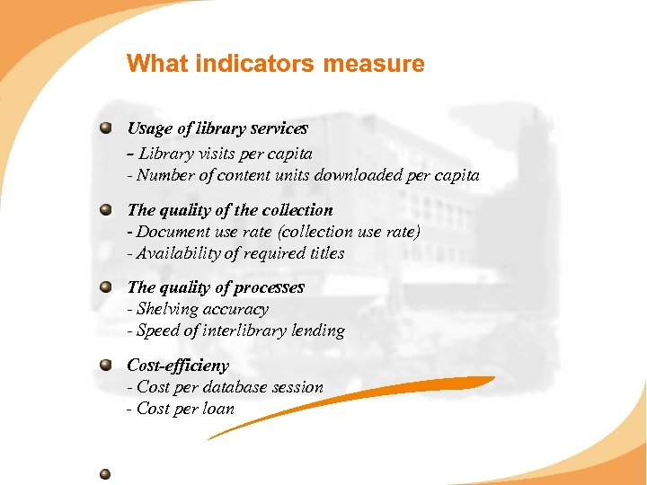 What indicators measure Usage of library services - Library visits per capita - Number